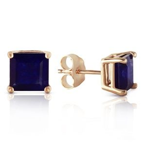 GOLD STUD EARRING WITH NATURAL SAPPHIRES